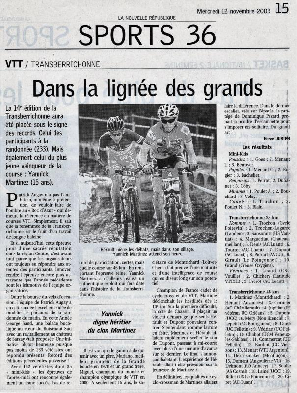 2003 resultats commentaires